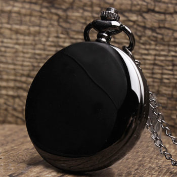 Black Smooth Steampunk Pocket Watch