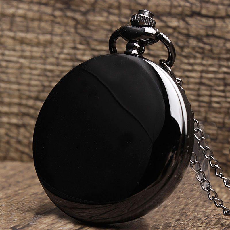 Black Smooth Steampunk Pocket Watch
