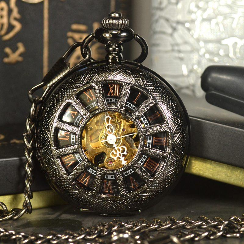 Black Steampunk Skeleton Mechanical Pocket Watch