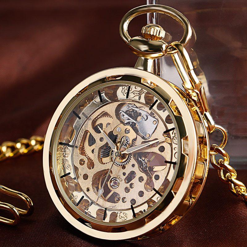 Steampunk Skeleton Mechanical Pocket Watch