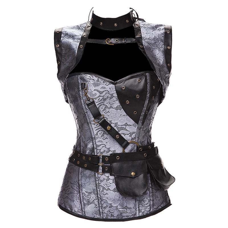 Faux Leather Punk Corset Steel Boned