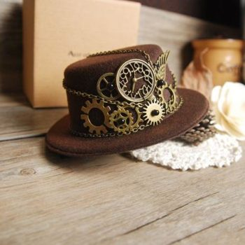 Steampunk Gear Mini Top Hat Handmade
