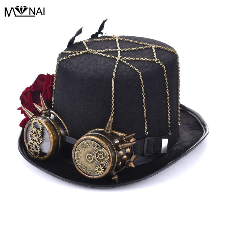 Steampunk Hat Rose Top With Goggles-Handmade