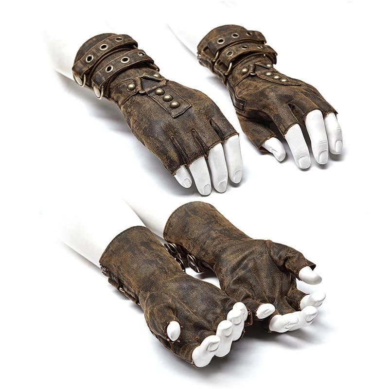 Brown Steampunk military Gloves