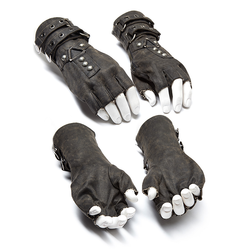 Black Steampunk military Gloves