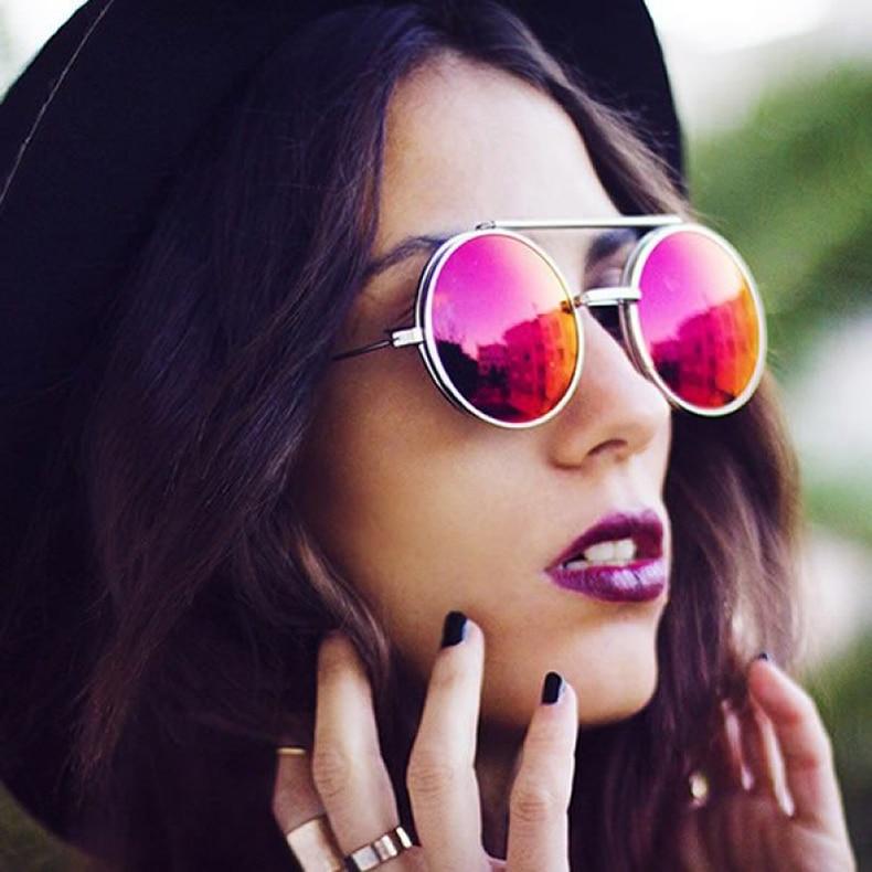 Steampunk Round Flip Up Sunglasses