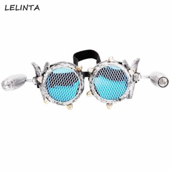 Clear Lense with Flashlight Steampunk Googles