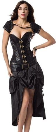 Satin Steampunk Corset With Belt And Jacket