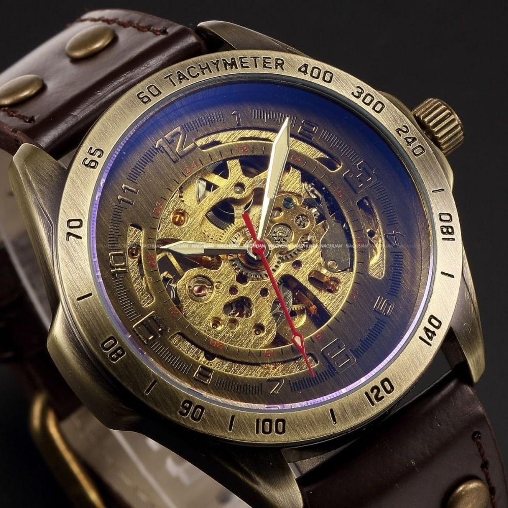 Steampunk Skeleton Automatic Sport Wrist Watch