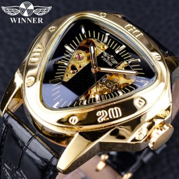 Steampunk Triangle Golden Skeleton Wrist Watch