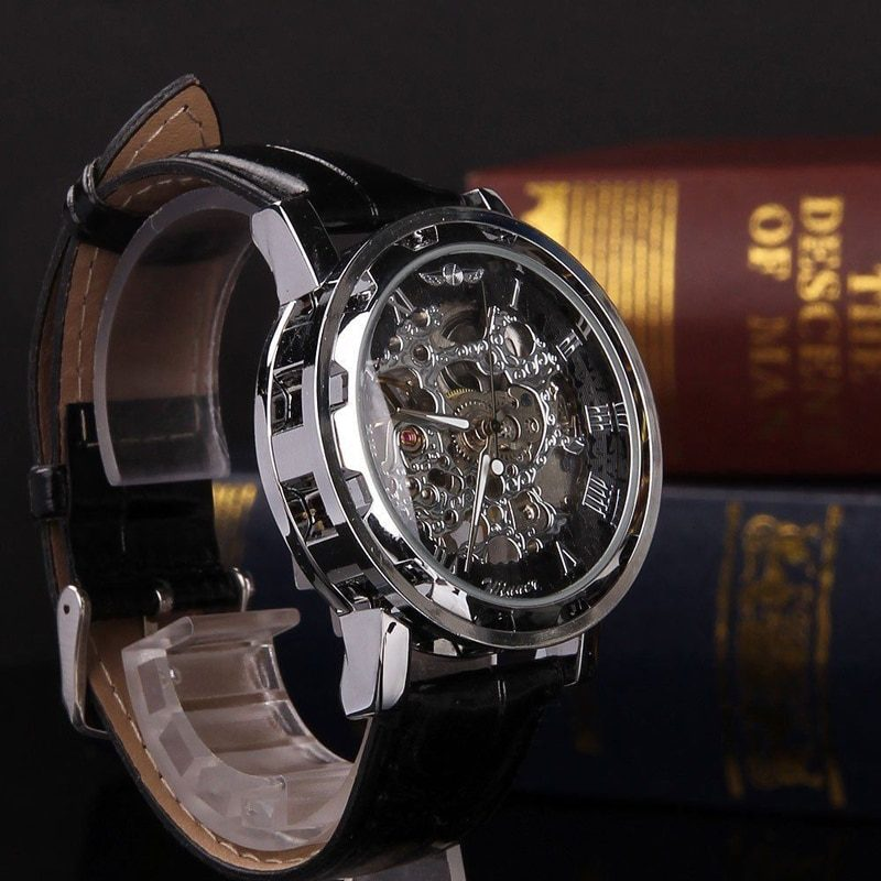 Skeleton Black Leather Watch Automatic