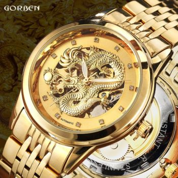 Dragon Skeleton Automatic Wrist Watch Stainless Steel