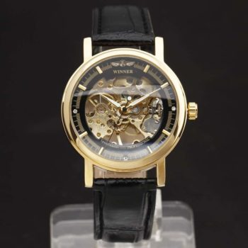 Skeleton Dial Genuine Leather Strap Wrist Watch