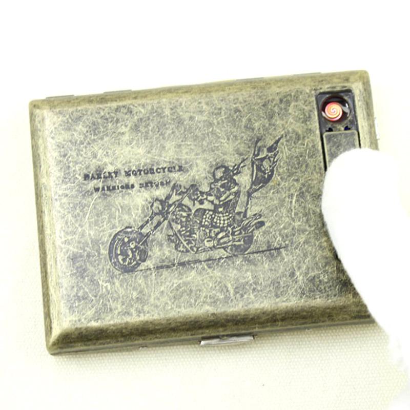 20-sticks-Vintage-Metal-Electronic-USB-Cigarette-Case-Charging-Electric-Wire-Windproof-Lighter-Cigarette-Box