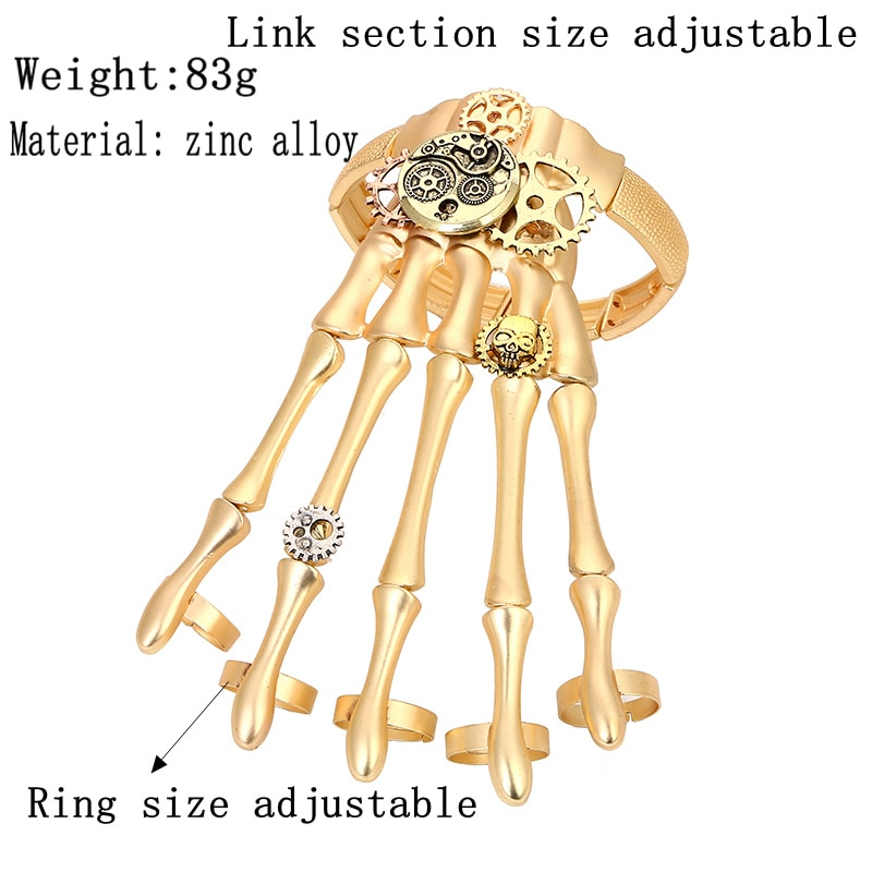 Fashion-Gold-Punk-Bracelets-Bangles-for-Women-Halloween-Accessories-Skull-Skeleton-Hand-Ring-Elastic-Steampunk-Men