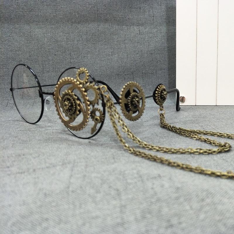 Retro-Women-Round-Steampunk-Glasses-Frame-Ladies-Lolita-Gears-Chain-Decoration-Eyewear-Punk-Gothic-Cosplay-Accessories