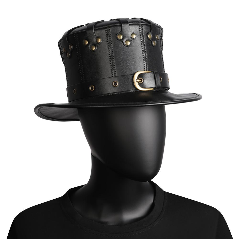Unisex-Adult-Black-Riveted-PU-Leather-Halloween-Plague-Doctor-Cosplay-Steampunk-Flat-Hat-Gothic-Costume-Accessories
