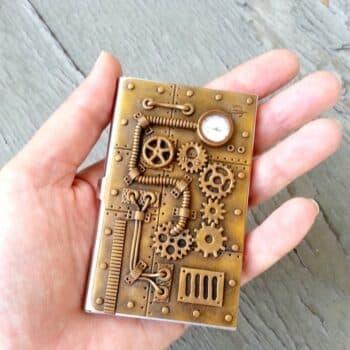 vintage bronze business card holder