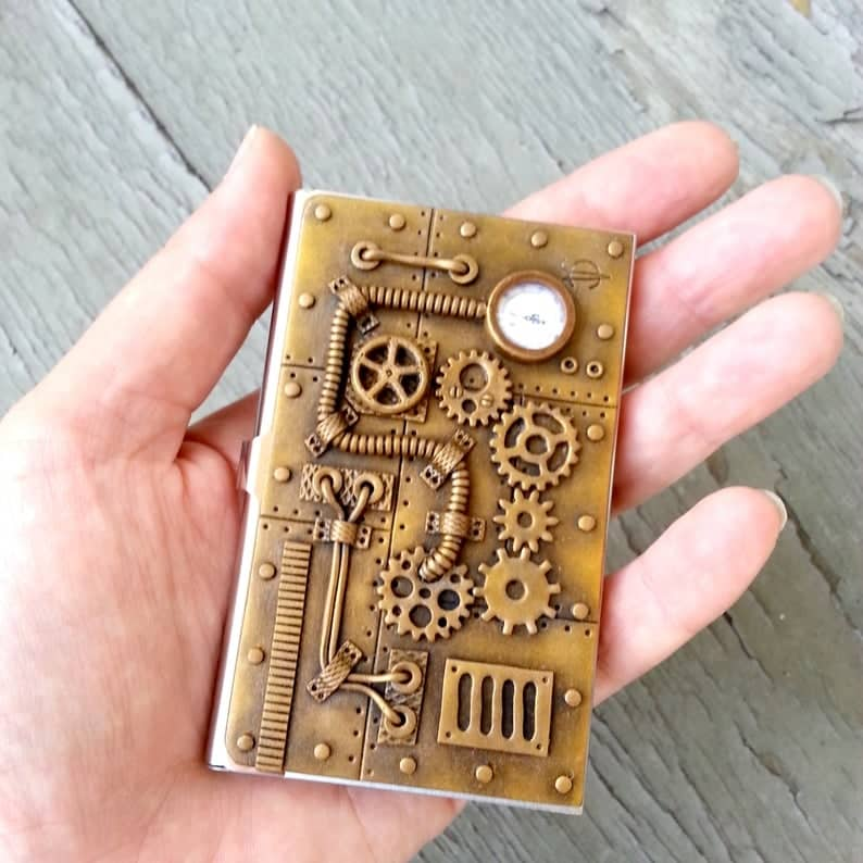 vintage bronze business card holder