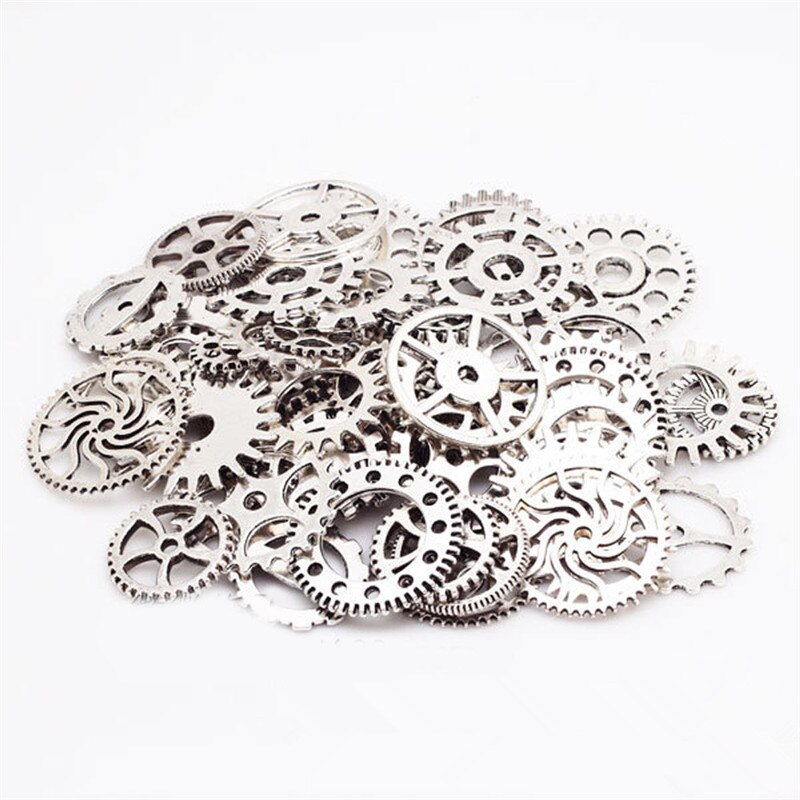 Mixed 90g Steampunk Silver Gear and Cogs