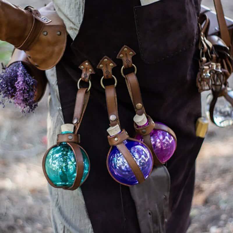 steampunk alchemy round flask potion bottles