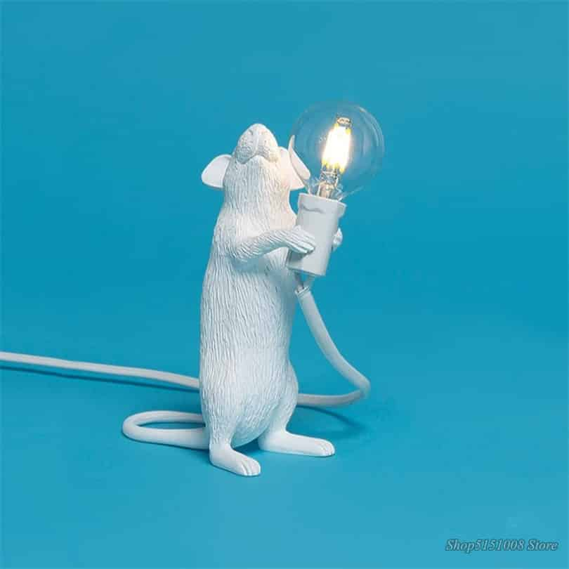 steampunk White rat lamp