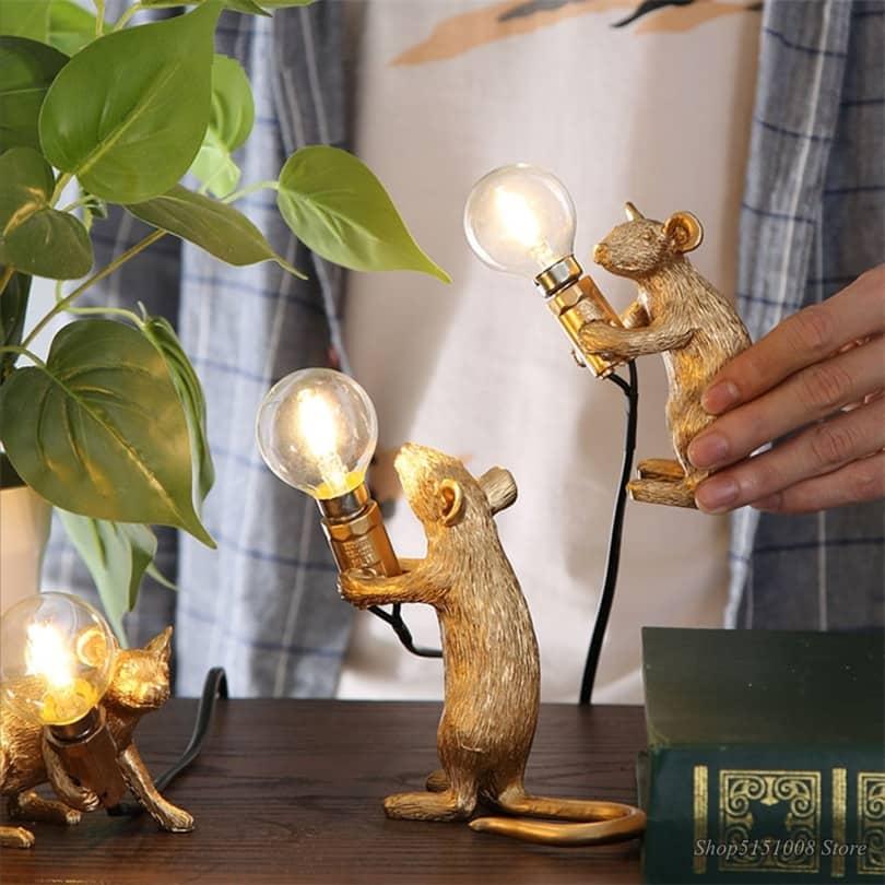 steampunk Golden Tiny rat lamps