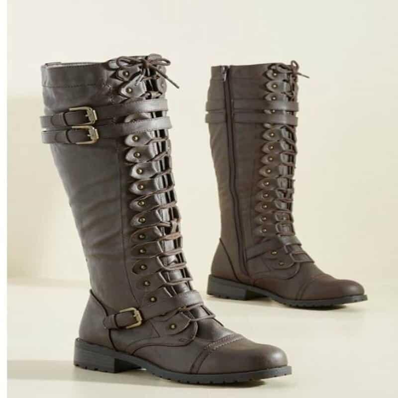 steampunk Knee high brown boots