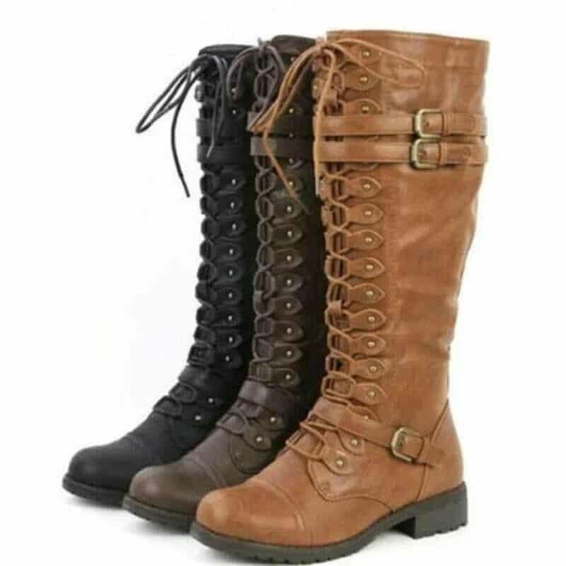 steampunk women knee high boots