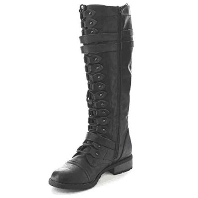 steampunk Knee high black boots