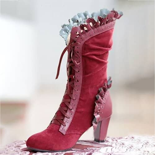 steampunk Pink Victorian Boots