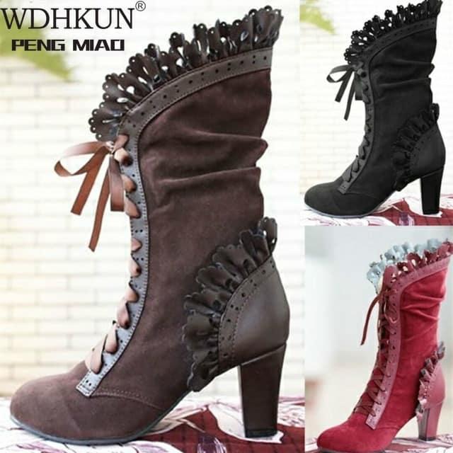 steampunk Victorian High heels Boots steampunk Women