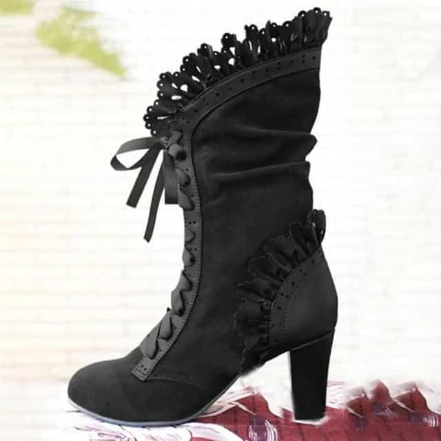 steampunk Black Victorian High heels