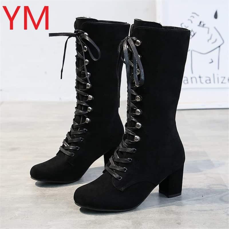 steampunk Punk Combat boots in black